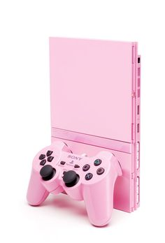 pink PS2 slimline console.