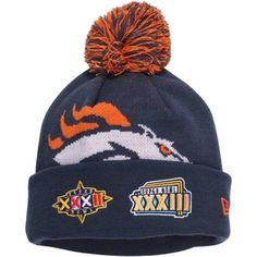 19fc51cb863 Mens Denver Broncos New Era Navy Blue Super Bowl Big Team Cuffed Knit Hat  with Pom