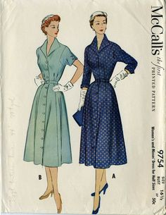 McCalls 97541950s Shirt Dress Pattern Vintage by PattysPastTimes, $17.50  I think a shirt dress could be really beautiful for a fall wedding with the right colors and fabric