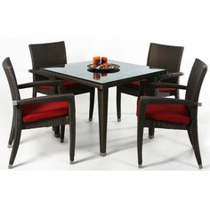 Whenever the weather's fine, you'll be dining al fresco with the All Things Cedar Rattan 5 Piece Dining Patio Set . This handsome synthetic. Resin Patio Furniture, Rattan Furniture, Outdoor Furniture Sets, Repurposed Furniture, Patio Table, Dining Table Chairs, Patio Dining, Arm Chairs, Outdoor Dining