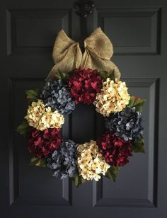 Americana Decor - Summer Wreath - Front Door Wreaths - Wreath - Red, White, and Exclusive Denim Blue Hydrangeas - Burlap - Front Porch Decor