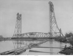 The first bridge a vertical lift at St. Georges Delaware across the Chesapeake and Delaware Canal 1926. Now replaced by the third bridge the Chesapeake & Delaware Canal Bridge in 1995. The canal has been widened and is now at sea level carrying 40% of Baltimore's shipping traffic. [2383x1854]