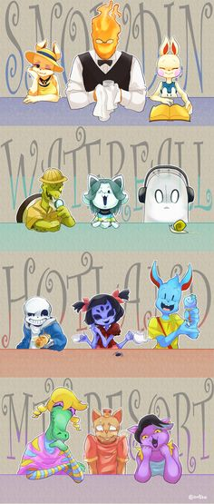 Shop Keeper, Grillby, Inn Keeper, Gerson, Temmie, Napstablook, Sans, Muffet, Nice Cream Guy, Bratty, Burgerpants, Catty