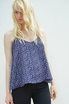 Floral swing strappy top averrable in sizes XS-L on www.thewolfflower.com
