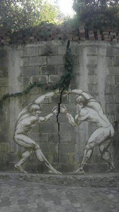 Strength of the gods , great use of cracks in concrete