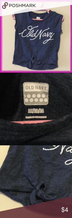 Old Navy 2t navy blue cotton logo tee that ties at the bottom logo in rope font. Short sleeve summer spring Old Navy 2t navy blue cotton logo tee that ties at the bottom logo in rope font. Short sleeve summer spring Old Navy Shirts & Tops Tees - Short Sleeve
