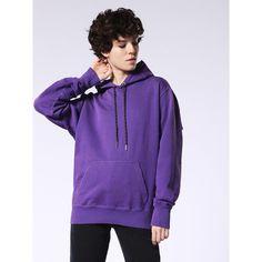Diesel F-PALMS-FL Sweatshirts (8,995 PHP) ❤ liked on Polyvore featuring tops, hoodies, sweatshirts, violet, women, long sleeve tops, purple long sleeve top, long sleeve hooded sweatshirt, logo sweatshirts and destroyed sweatshirt