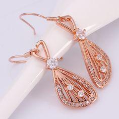 Arlumi 18k Rose Gold plated Clear Crystal Hollow Teardrop / Waterdrop French Wire Dangle Earrings E001-B