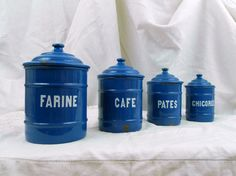 4 Piece Set Vintage French Blue Enamelware Canister Set, Flour ,Coffee, Pasta and Chicory / French Decor / Enameled Canister Set