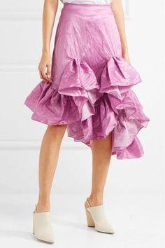 Marques' Almeida - Ruffled Crinkled-taffeta Skirt - Pink