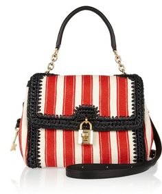 6b7ab73667 DOLCE   GABBANA Miss Dolce Striped Canvas and Raffia Shoulder Bag - Lyst  Striped Canvas