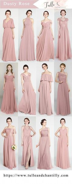 Bridesmaid dresses - hottest dusty rose bridesmaid dresses for 2018 wedding weddinginspiration bridesmaids bridesmaiddress bridalparty maidofhonor weddingideas weddingcolors tulleandchantilly Dusty Rose Bridesmaid Dresses, Dusty Rose Dress, Dusty Rose Wedding, Wedding Bridesmaids, Wedding Gowns, Wedding Blue, Wedding Flowers, Rose Wedding Dresses, Trendy Wedding
