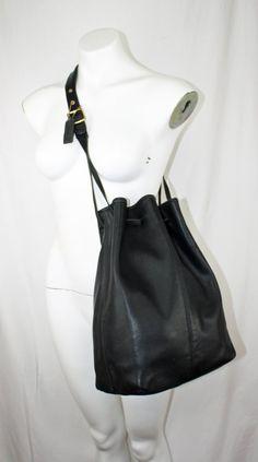 b9f7bc9b319c Back to School SALE XL Vintage Coach Drawstring Bucket Bag Duffle Travel Bag  Style 9166 in Black Leather