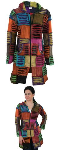 Coat of Many Colors Hooded Long Jacket at The Animal Rescue Site  For Jenn~