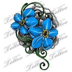 Marketplace Tattoo Forget Me Not Flowers And Vines 9654 Createmytattoo Henna Tattoos