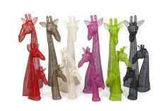 Assorted handmade wire giraffe busts. May 2015