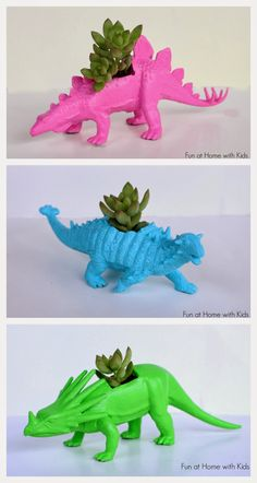 DIY Dinosaur Planters for between three and five dollars!  These would make a great gift! Fun at Home with Kids