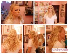Long blonde curls with headband and smokey eye makeup. Wedding hair by Pink Comb Studio, Westfield NJ. Onsite bridal services throughout tri-state area