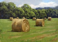 Farm Paintings, Paintings I Love, Small Paintings, Green Landscape, Landscape Art, Landscape Paintings, Hay Bales, Painting Inspiration, Creative Art