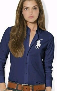 6a84555e583af Camisa Ralph Lauren Mujeres Big Pony de manga larga Navy Blue Stripes  http