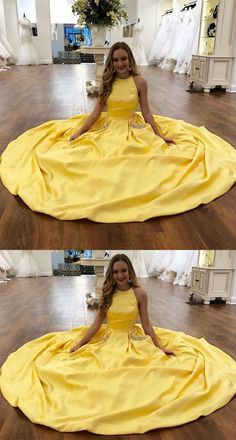 Two Piece Prom Dresses Long, Yellow Prom Dresses Princess Prom Dresses with Pockets, Open Back Prom Dresses Satin Senior Prom Dresses, Prom Dresses For Teens, Unique Prom Dresses, Prom Dresses Online, Dress Prom, Popular Dresses, Graduation Dresses, Modest Dresses, Dance Dresses