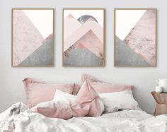Trending Art, Printable Art, Downloadable, Set of 3 Prints, Mountain Print Set, Grey and Pink, Blush Pink, Scandinavian, Prints, Poster, Art