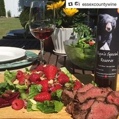 #Repost @essexcountywine with @repostapp  June 19 2016 - Black Bear Farms Papas Reserve with Warm Salad with Honey-Mustard Flank Steak.  It's Dad's Day!  Make Dad's day with help from Black Bear Farm!  Papa's Special Reserve served with a juicy barbecued steak.  Today is all about Dad! Cheers!  #Local Essex County produce compliments of Lee and Maria's Market.  Buy Local  73495343-BD54-4F65-818C-0684C4829B99