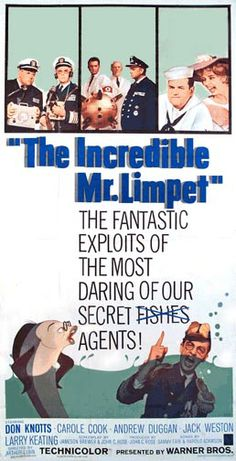 """The Incredible Mr. Limpet"" starring Don Knotts was a 1964 family film about a mild-mannered bookkeeper who gets his dream and begins living life as a fish and soon discovers he can play a role in helping America to win WWII. Old Movies, Vintage Movies, Great Movies, Love Movie, Movie Tv, Old Movie Posters, Film Posters, Film Music Books, Leonardo Dicaprio"