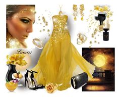 """yellow glamour"" by lumi-21 ❤ liked on Polyvore featuring Elie Saab, Alexis Bittar, Ross-Simons, LSA International, Elizabeth Arden, Forever 21, Bobbi Brown Cosmetics and Deborah Lippmann"