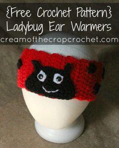 Ladybug Ear Warmers ~ Cream Of The Crop Crochet