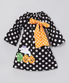 Look what I found on #zulily! Black & Orange 'Boo' Polka Dot Dress - Toddler & Girls #zulilyfinds