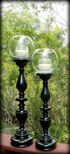 Fabulous Black Candle Holder Set with Large removable bubble vase and ribbed votive! These stand 18 and 15 without vase on-top, with vase