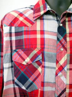 Wrangler Mens Western Shirt  Lrg Red White Blue Plaid Pearl Button Front Pocket #Wrangler #Western