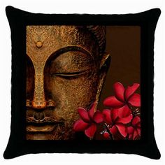 BUDDHA RED FRANGIPANI BRANCH~Lounge DECORATIVE Scatter CUSHION COVER/Case~NeW~
