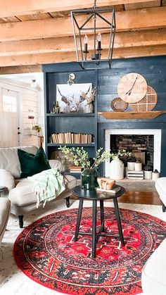 Boho Living Room, Accent Walls In Living Room, Living Room With Fireplace, Eclectic Living Room, Paint Colors For Living Room, Cozy Living Rooms, Rustic Living Room Decor, Farmhouse Living Rooms, Texas Living Rooms
