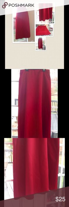 👠 Cherry Red Formal skirt👠 Lovely formal skirt excellent condition very simple but elegant. Zips up in the back. Aligned fully lined, 100% polyester,has a very sheen. Skirts Maxi