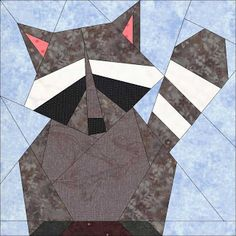 raccoon quilting block