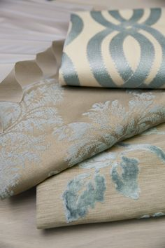 Texture and luxury are big this winter with lots of sophisticated tone-on-tone geometrics, detailed embroideries and touches of metallic for a bit of glamour. (top to bottom: 16514 Wavering/Spa, 16539 Baroque Damask/Mist, 16540 Plush Floral/Spa) #smithandnoble #fabric #homedecor