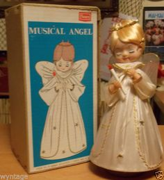 Vintage-Rotating-Musical-Angel-Doll-Christmas-Holy-Night-Silent-Night-VIDEO