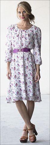 Restocked! Modest Floral Print Dress - Blake Dress (Purple Floral)