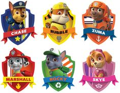 Throw a fun children's birthday party with these paw patrol party ideas! Paw Patrol Cupcake Toppers, Cupcakes Paw Patrol, Paw Patrol Cups, Paw Patrol Badge, Puppy Patrol, Paw Patrol Cake Decorations, Imprimibles Paw Patrol, Paw Patrol Clipart, Paw Patrol Stickers