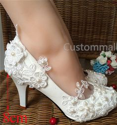 Wedding Pearl Lace Flower Prom Party Bridal Bridesmaid Flat High Low Heels shoes
