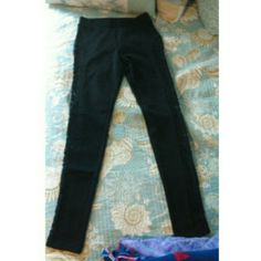 Black leggings Black leggings with lace sides Forever 21 Pants