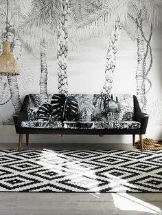 Christian Lacroix Jardin Exo Chic retro sofa couch black white