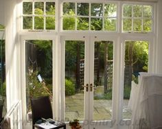 Are you willing to install beautiful timber French doors fitted ideally to your particular London premises? Welcome to Solid Carpentry! We manufacture and install first-class wooden French doors of custom designs. Victorian Patio Doors, Victorian Terrace, Victorian Windows, Victorian House, French Door Curtains, French Doors Patio, French Patio, Double Doors Interior, Interior Exterior
