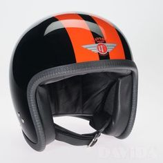 Davida speedster Helmets: two tone black 2P orange stripe Product Code: 90226