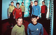 William Shatner, Leonard Nimoy, George Takei, Nichelle Nichols, Walter Koenig, Majel Barrett, DeForest Kelley, James Doohan in the TV series 'Star Trek'