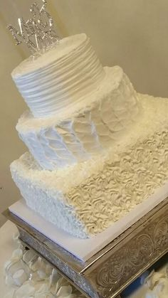 Buttercream frosting in different textures. 3 Tier Wedding Cakes, Specialty Cakes, Different Textures, Buttercream Frosting, Wisteria, Vanilla Cake, Desserts, Food, Vanilla Sponge Cake