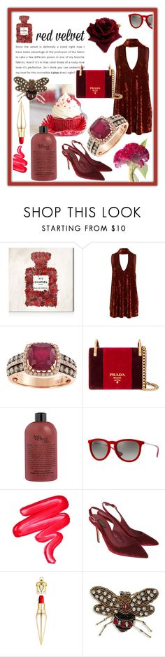 """""""Red Velvet"""" by mariyushka ❤ liked on Polyvore featuring Oliver Gal Artist Co., Show Me Your Mumu, Effy Jewelry, Prada, Ray-Ban, Lime Crime, Dolce&Gabbana, Christian Louboutin, Scripted and velvet"""