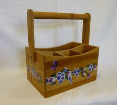Hand Painted Bamboo Wood Storage Container by bunnyhutchdesigns, $30.00